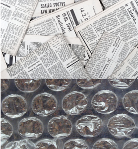News paper and bubble wrap