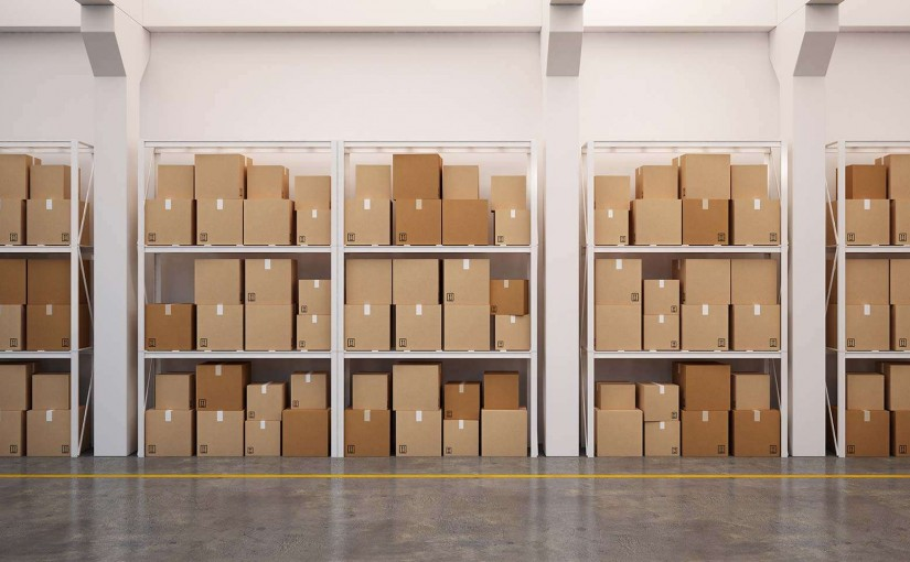 self-storage boxes on shelves.